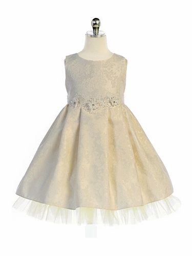 Crayon Kids 369 Ivory Floral Brocade Dress