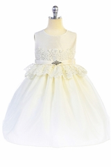 Crayon Kids 371 Ivory Lace Peplum Dress w/ Brooch