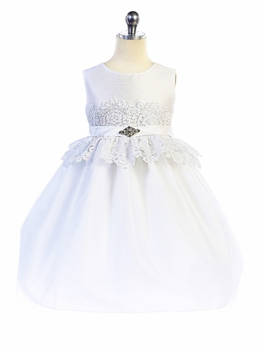 52c48a1516dcd Crayon Kids 371 White Lace Peplum Dress w/ Brooch