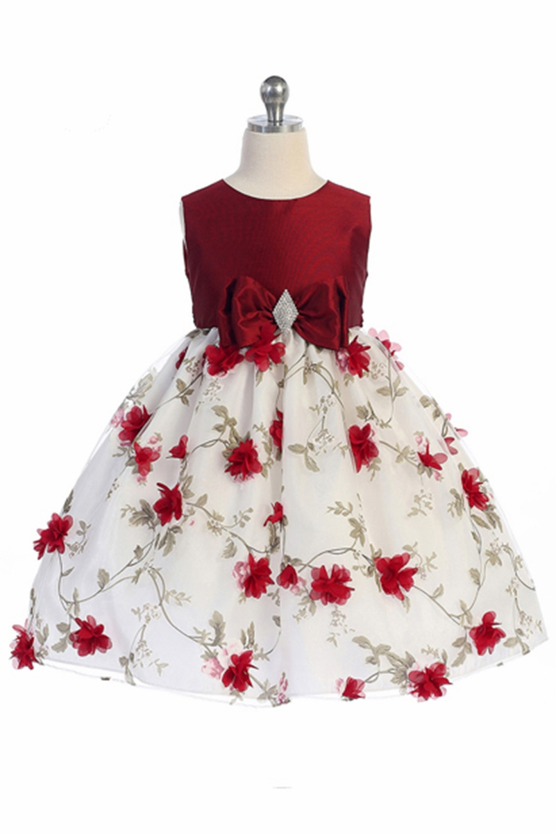 Crayon Kids 354 Red White Floral Brooch Bow Dress