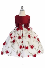 Crayon Kids 354 Red & White Floral Brooch Bow Dress