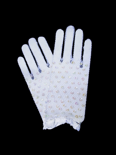 Crochet Short Gloves w/ Iridescent Sequins