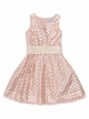 CLEARANCE - Cupcakes & Pastries Blush Brocade Dress w/ Hand Embroidered Belt & Tie Back