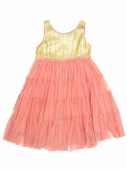 FLASH SALE - Cupcakes & Pastries Coral Tiered Tulle Dress w/ Gold Sequined Bodice