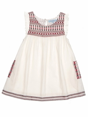 Cupcakes & Pastries Ivory Flutter Sleeves & Embroidery Detail Dress