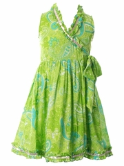 Cupcakes & Pastries Lime Wrap Dress w/ Ruffles & Lurex Detail
