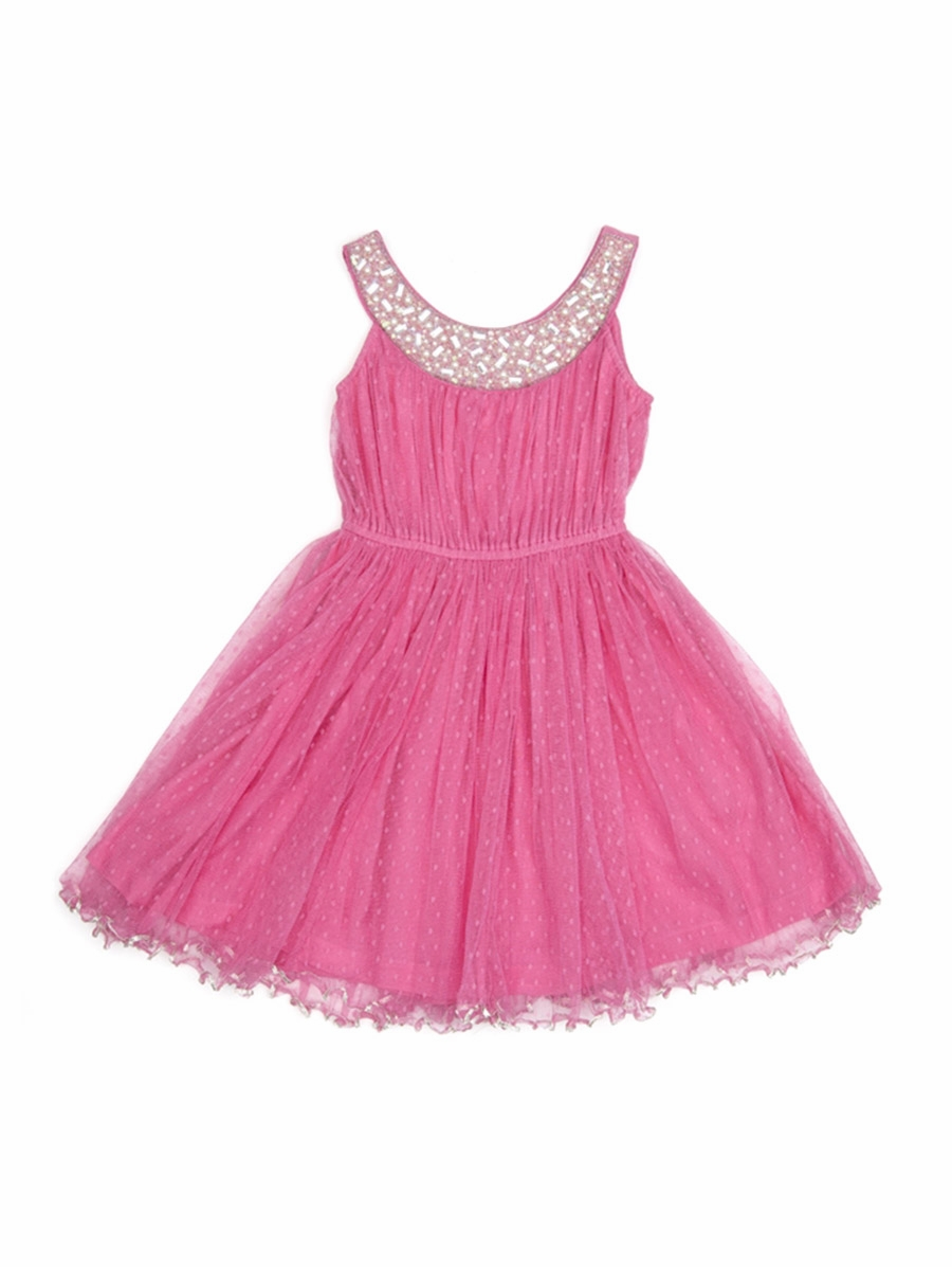 Cupcakes pastries pink beaded neckline dress w hand