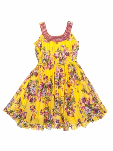 Cupcakes & Pastries Yellow Floral Dress w/ Hand Embroidered Necklace