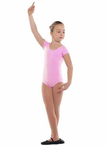 Danshūz Pink Short Sleeve Cotton Leotard
