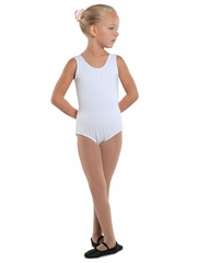 Danshūz White Cotton Tank Leotard