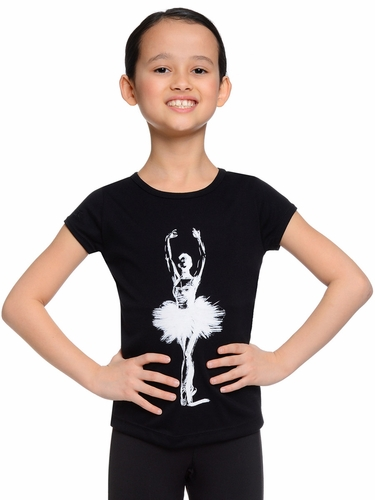 Danskin Girls Black Short Sleeve Graphic T-Shirt