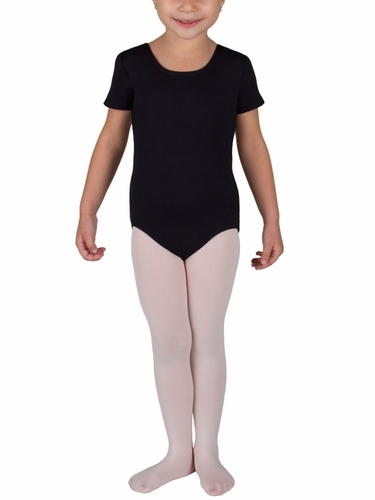 Danskin Girls Black Short Sleeve Lattice Black Leotard