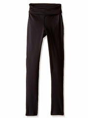 Danskin Girls Warm Ups Rich Black Fold Over Waistband Ankle Length
