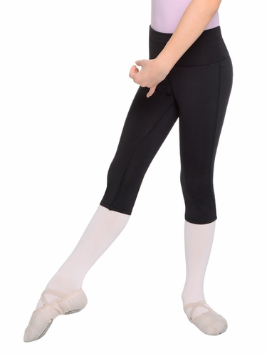 Danskin Girls Warm Ups Rich Black Fold Over Waistband Capri Legging