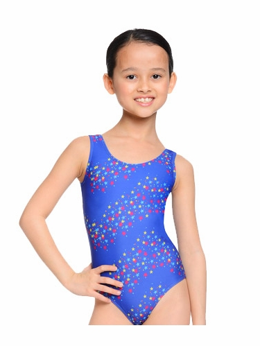 Danskin Gymnastics Royal Star Print Leotard
