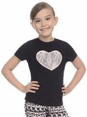 Danskin Heart Lace Black Tee