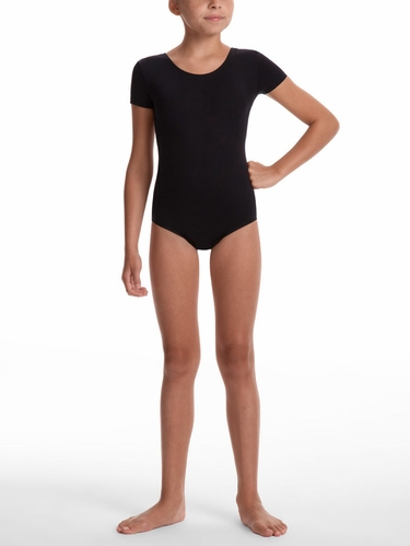Danskin Team Essentials - Girls Black Short Sleeve Leotard