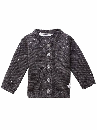 Dark Gray 3 Pommes Dark Gray Knit Sequin Cardigan