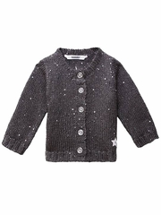 3 Pommes Dark Gray Knit Sequin Cardigan