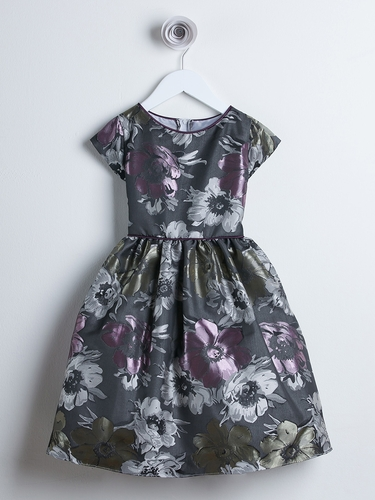 Dark Gray Large Floral Embroidered Brocade Dress