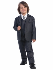 Dark Gray Boys Pin-Striped Suit - 5 Piece Suit