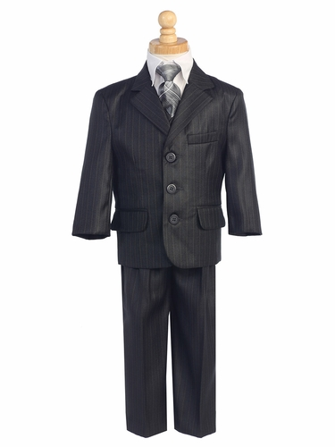 Dark Grey Boys Pinstripe 5 Piece Suit
