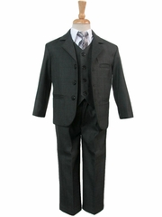 Boys' Dark Gray 5 Piece Suit