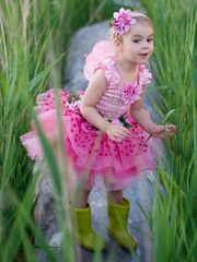 Dark Pink Fairy Blossoms Dress w/ Wings & Headband