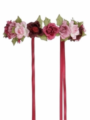 Dark Pink Rose Garland Halo