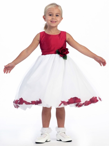Red Flower Girl Dress - Shantung Bodice w/ Tulle Skirt