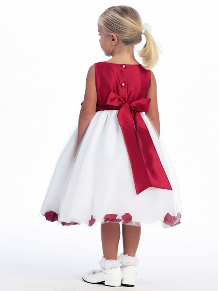 Red flower girl dress shantung bodice w tulle skirt click to enlarge click to enlarge mightylinksfo