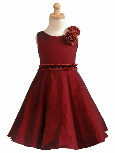 Dark Red Stretch Taffeta Dress w/2 Flowers at Shoulder
