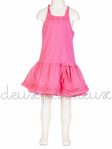 Deux par Deux Fuchsia Crisscross Tank Dress w/ Gathered Neckline & Trim