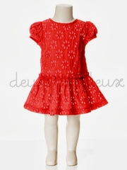 Deux Par Deux Red Embroidered Cap Sleeve Dress