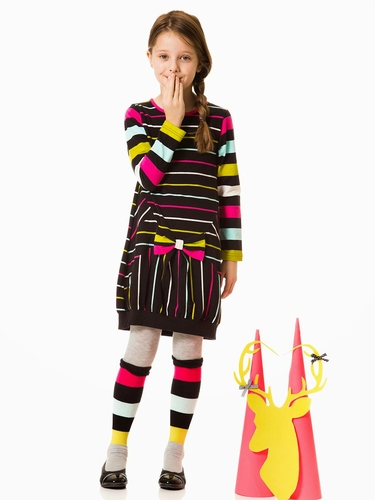 Deux Par Deux Striped Dear Deer Friend Dress
