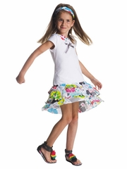 Deux par Deux White T-Shirt Dress w/ Floral Ruffle Skirt & Colorful Neckline