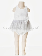 Flash Sale - Deux Par Deux White Tutu Romper Dress