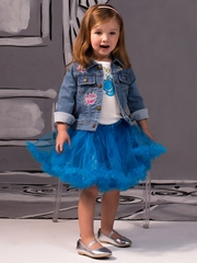 Disney Collection by Tutu Couture 3PC Cinderella Tutu & Patch Denim Jacket