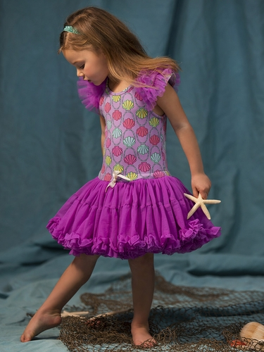 Disney Collection by Tutu Couture Ariel Ruffle Sleeve Petti Dress