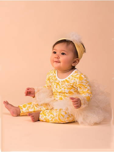 Disney Collection by Tutu Couture Beauty & The Beast Baby Belle 2PC Set Tutu Coverall w/ Headband