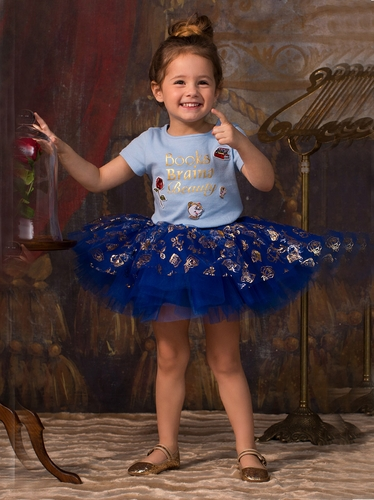 Disney Collection by Tutu Couture Beauty & The Beast Belle Short Sleeve Tee w/ Tutu Skirt 2PC Set