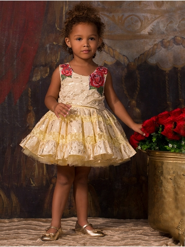 CLEARANCE - Disney Collection by Tutu Couture Beauty & The Beast Rose Poplin Petti Dress