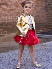 Disney Collection by Tutu Couture Minnie Mouse 3PC Tutu Set w/ Gold Pleather Jacket