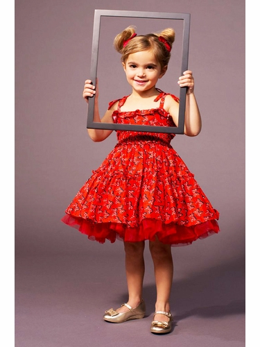 Disney Collection by Tutu Couture Red Minnie Poplin Smocked Petti Dress