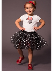 Disney Collection by Tutu Couture Sequin Minnie Tee w/ Dotted Tutu Skirt