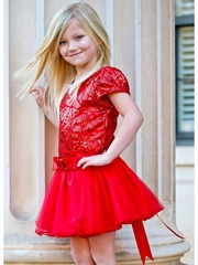 Dolls & Divas Amy Red Sequined Bodice w/ Red Tulle Skirt