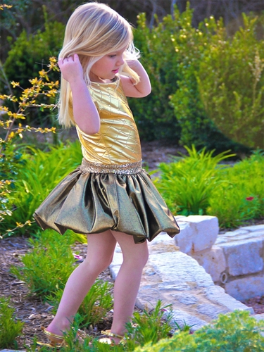 Dolls & Divas Gold Quilted Bubble Dress