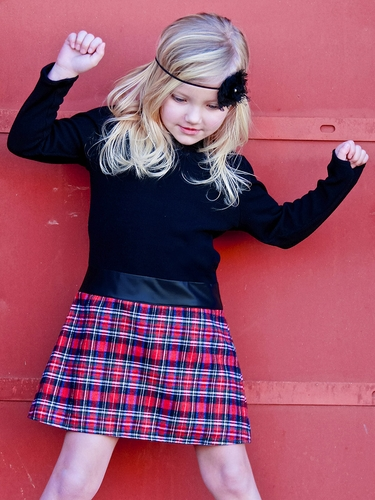 Dolls & Divas Keyhole Black & Plaid Hadely Dress