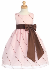 Pink/Brown Embroidered Organza Dress w/ Taffeta Waistband