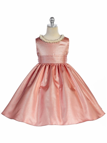 Dusty Rose Beaded Neckline Fit & Flare Dress